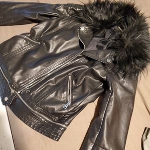 Express Faux Fur Leather moto jacket